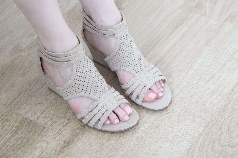 Sandales compensées beiges - Chaussea